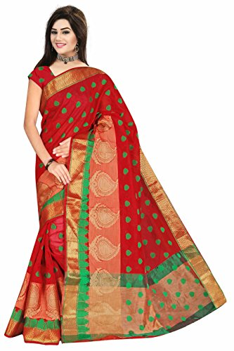 Royal Export Women\'s Cotton Silk Saree (Red)