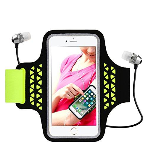 Sport Laufarmband, Handy Case Protector für iPhone 8/7/6 / 6S Plus, Samsung Galaxy S5 S7 Edge Plus bis zu 5,5 Zoll, Sweat-Proof Armband mit Reflect Stripe, Key und Kartenhalter (Green)