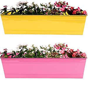 TrustBasket Rectangular Railing Planters (23-inch, Yellow and Magenta, Pack of 2)