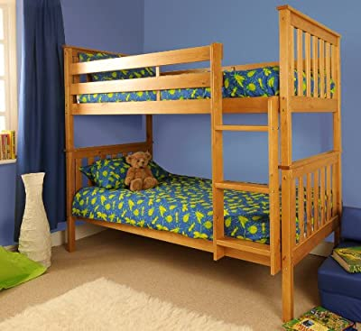 Premium Pine Bunk Bed with a Caramel Finish with Mattresses INCLUDED - inexpensive UK Bunkbed shop.