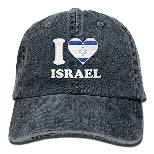 Hoklcvd Ich Liebe Israel-Flaggen-Denim-Hut-justierbare weibliche beiläufige Baseball-Mütze Fashion29