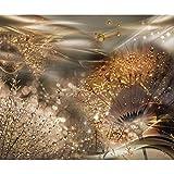 decomonkey Fototapete Pusteblume Abstrakt 300x210 cm XL Tapete Fototapeten Vlies Tapeten Vliestapete Wandtapete moderne Wandbild Wand Schlafzimmer Wohnzimmer Blumen Tau Gold Orange FOA0062a62XL