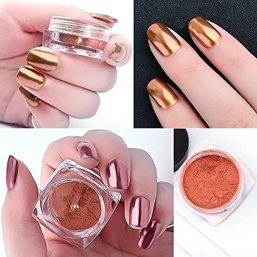 Ushion Rose Gold Polvo de Espejo para Uñas Polvos Cromo + Aplicadores