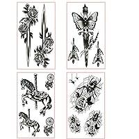 Spestyle 4 Sheets Sword Blace Horse Black Rose Body Fake Tattoo Sticker for Women Men
