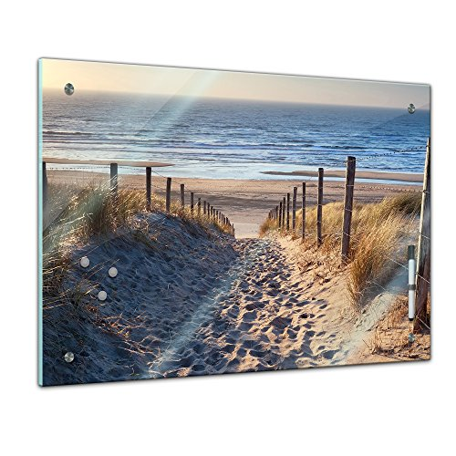 Bilderdepot24 Memoboard 60 x 40 cm, Sommer, Sonne & Urlaub - schöner Weg zum Strand III - Memotafel Pinnwand - Nordsee - Tourismus - Urlaub - Travel - Küche - Esszimmer - Glasbild - Handmade