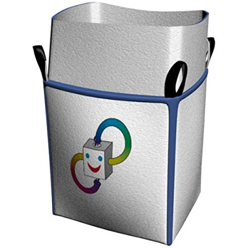 IXKES Big Bag Geschlossener Boden, mit Schürzen Verschluss 60x60x60 cm Weiß