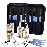 HKKANG Kit de crochetage de serrure 17 pièces avec 2 verrous d'entraînement transparents pour crochetage de serrure, multicolore