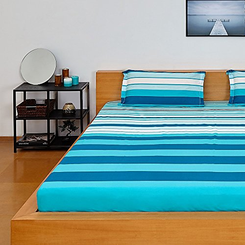 Amazon Brand - Solimo Silk Finish Spectra Stripe 180 TC 100% Cotton Double Bedsheet with 2 Pillow Covers - Blue