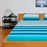 #5: Solimo Silk Finish Spectra Stripe 180 TC 100% Cotton Double Bedsheet with 2  Pillow Covers - Blue