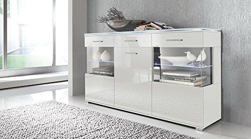 Sideboard in Hochglanz weiß, mit 3 Türen und 1 Schubkasten, Maße: B/H/T ca.150/84/38 cm