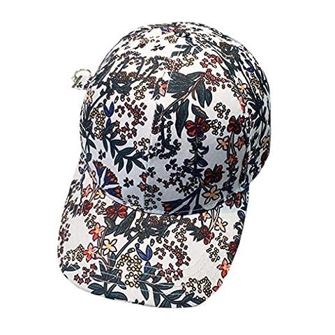 ❀AMUSTER❀,Broderie en coton bonnet de baseball Chapeau plat de hip hop pour garçons et filles Snapback (blanc)