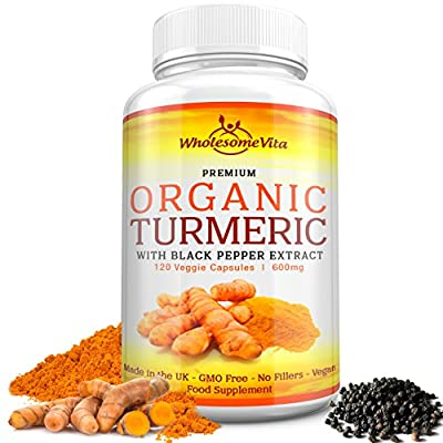 Premium Grade 100% Organic Turmeric Curcumin with Black Pepper Extract (Piperine) for Optimal Absorption - 600mg   Joint Support, Brain Booster, Anti-inflammatory, Antioxidant   100% GMO & Gluten Free   120 Veg Capsules   Made in UK