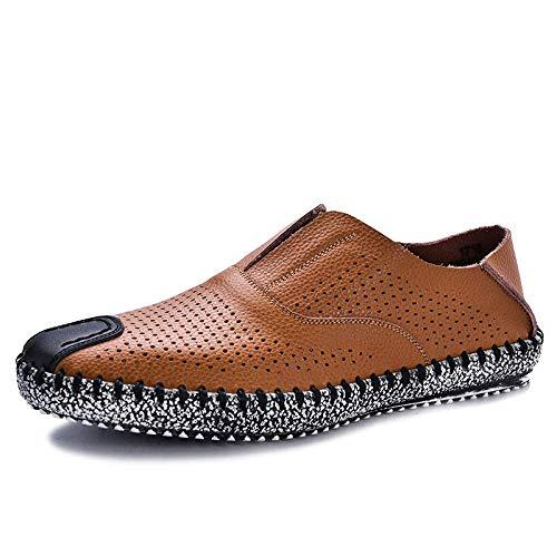 Eeayyygch scarpe da uomo in pelle traspirante da uomo scarpe con foro cava scarpe con i piedi mocassini (colore : marrone, dimensione : 8uk(foot length 27cm))