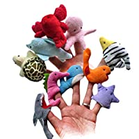 SunnyClover 1PCS Creative Marine Animals Finger Puppets Adorable Handhold Puppets Soft Plush Dolls Kids Educational Toys