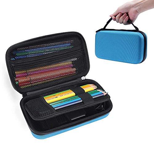 Livedeal Astuccio rigido con 80 scomparti, pratico multistrato, con cerniera, per matite colorate Texas Instruments TI-84/Plus CE Prismacolor, penna colorata, pennello cosmetico, power bank blue