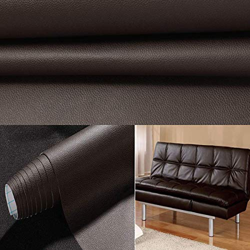 Lederreparatur Leder selbstklebende Klebefolie Möbel Aufkleber Folie Patch 45 * 200cm Dunkelbraun Reparaturflicken für Möbel Sofa Sitzbezug Autositz Jacke -