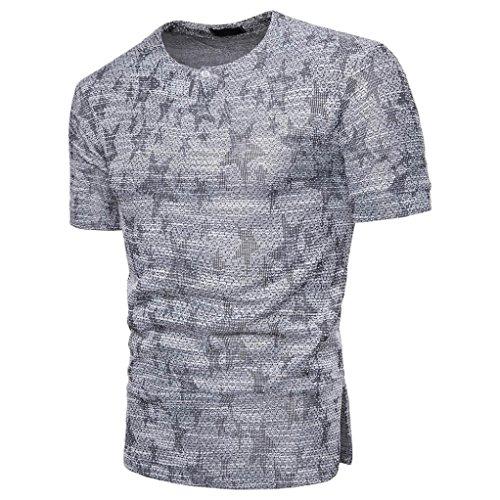 T-Shirts,Honestyi 2018 Neueste Modell Klassisches Basic T-Shirt Sternen Gedruckte Personalisierte Kurze Hülse Blusen Tees Tops Hochwertigem Single Jersey Stoff Baumwolle Oversize M-XXXL (XXL, Grau)
