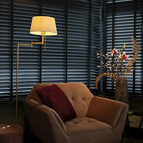QAZQA Rustique Lampadaire/Lampe de sol/Lampe sur Pied/Luminaire/Lumiere/Éclairage Ladas bronze avec abat-jour blanc Tissu/Acier Crème,Bronze Oblongue/intérieur/Salon