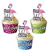 vorgeschnittenen Pink Flamingo–77th Geburtstag–Essbare Cupcake Topper/Kuchen Dekorationen (12Stück)