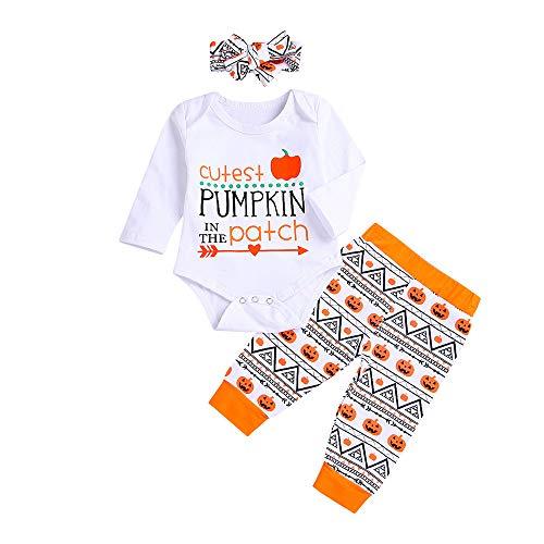 Halloween kostüm,Transwen Neugeboren Niedlich Kürbis Halloween Kleinkind Baby Brief Print Strampler + Pants + Stirnband Set Outfit Spielanzug (70, Weiß)