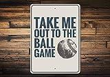 Fhdang Decor Baseball Phrase, Take me Out to The Ball Game Schild, Baseball Lover Geschenk, Baseball Fan, Baseball Lied, Metall Aluminium Schild, 20,3x 30,5cm