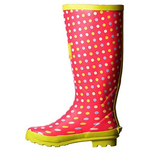 Onlineshoe Damen Regen Stiefel Pink / Grün Vor Ort