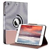 ULAK iPad Mini 2 Hülle, iPad Mini 2/3 Case 360 PU Leder Tasche Flip Case für iPad Mini 1/2/3 mit Ständerfunktion Auto Sleep/Wake-Funktion und Stift Slot (Roségold/Schwarzer Streifen)