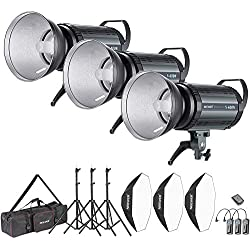 Neewer 1200W Flash Studio Kit:(3) 400W Flash Spot,(3) Diffuseur réflecteur,(3) Softbox,(3) Support de lumière,(1) RT-16 Déclencheur sans Fil,(1) Sac, Projecteur à Monture Bowens(S-400N)