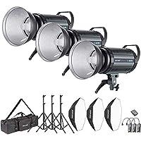 Neewer 1200W Studio Blitzblitz Fotografie Studioset: (3) 400W Monolicht, (3) Reflektor Diffusor, (3) Softbox, (3) Lichtständer, (1) RT-16 Drahtloser Auslöser, (1) Tasche für Bowens Montage ( S-400N)