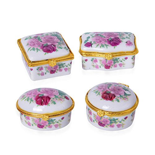 Vaibhav Ceramic Storage Box Home Decoration Set Of 4 (Pink)