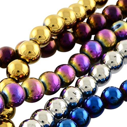 nbeads 20Strähnen Karneval feiern, Mardi Gras Perlen, galvanisiert Glasperlen, rund, gemischte Farbe, 8mm, Loch: 1mm, ca. 40/Strähne, 32cm