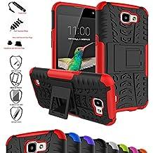 LG K4 / Optimus Zone 3 / LG Spree Funda,Mama Mouth Heavy Duty silicona híbrida con soporte Cáscara de Cubierta Protectora de Doble Capa Funda Caso para LG K4/Optimus Zone 3/LG Spree 2016 Smartphone,Rojo