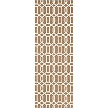 """Washable Indoor/Outdoor Stain Resistant 2.5x7 (30""""x84"""") Runner Rug 2pc Set (Cover and Pad) Modern Fretwork Rich Tan and White"""