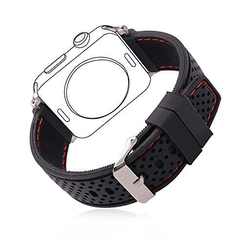 Apple Watch Bracciale, Bandmax 42MM Morbido Cinturino Sport di ricambio in silicone per Apple Watch Series 1/ Series 2 Tutti i Modelli (42MM, Nero)