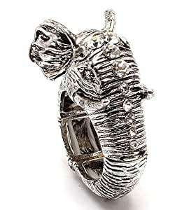 Bijouterie Fantaisie - Bague Éléphant Effet Argent - Bague extensible - Trompe Éléphant avec Détail Diamanté