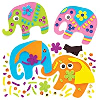 Baker Ross Ambari Elephant Mix & Match Magnet Kits, Arts and crafts for Kids (Pack of 8)