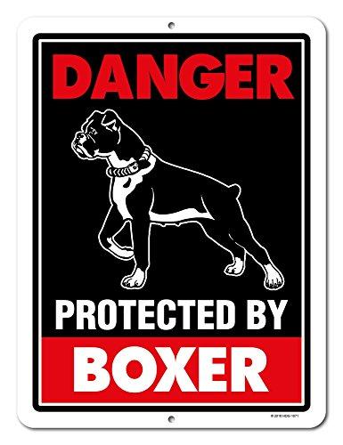 Vorsicht vor Hund Schild Gefahr durch Boxer 22,9x 30,5cm Vorsicht vor Hund Achtung Metall Aluminium Schild Beware of the Dog Schild -