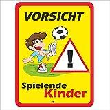 Hinweis-Schild Vorsicht spielende Kinder I Größe 30 x 40 cm I Straßen-Warnschild Spielstraße Spielplatz I Vorsicht Kids langsam fahren I hin_402
