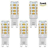 Minger G9 3W LED Lampe, Warmweiße LED Lampe vgl. 35W Halogen G9 LED Leuchtmittel Nicht Dimmbar, G9 Halogenlampen, 300 Lumen, 3000K, 100-240V AC, 5er Pack
