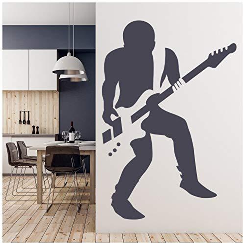 Azutura chitarrista rock adesivo murale musica per chitarra adesivo da parete ragazzi camera da letto casa arredamento disponibile in 5 dimensioni e 25 colori x-grande moss verde