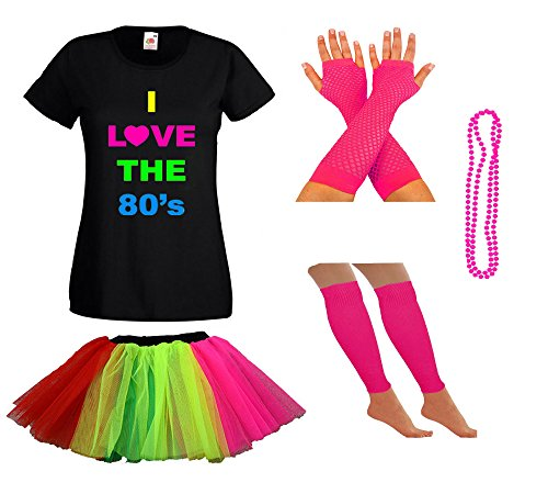 Ladies I Love 80s T-shirt and Skirt Costume Set, Many Colours - 8 to 18