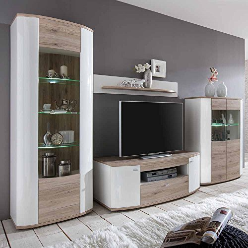 wohnwand modern hochglanz hochglanz eiche hell. Black Bedroom Furniture Sets. Home Design Ideas