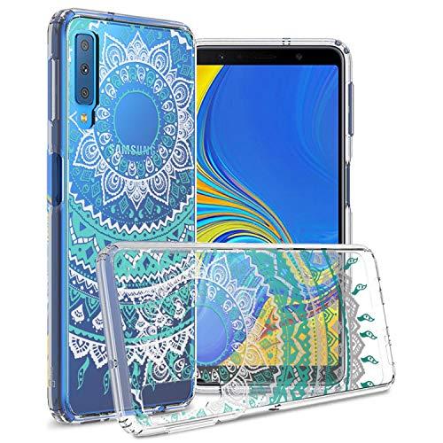 CoverON [ClearGuard-Serie] Galaxy A7 2018 transparente Hülle, Slim Fit Handyhülle mit klarer Rückseite und TPU Bumper für Samsung Galaxy A7 (2018) (A750), Clear Mandala Design A700 Cell Phone