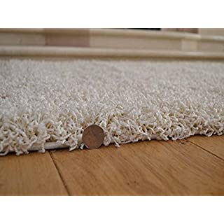 Soft Touch Shaggy Ivory Cream Thick Luxurious Soft 5cm Dense Pile Rug. Available in 7 Sizes (120cm x 170cm)
