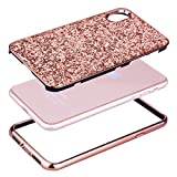 Coque iPhone X Or Rose,Coque iPhone 10,Slynmax Silicone Paillette Strass Brillante Bling Bling Glitter de Luxe,Bumper Housse Etui de Protection [Ultra Fin] [Anti Choc] pour Apple iPhone X + 1 * Noir Stylo-Série Glamour