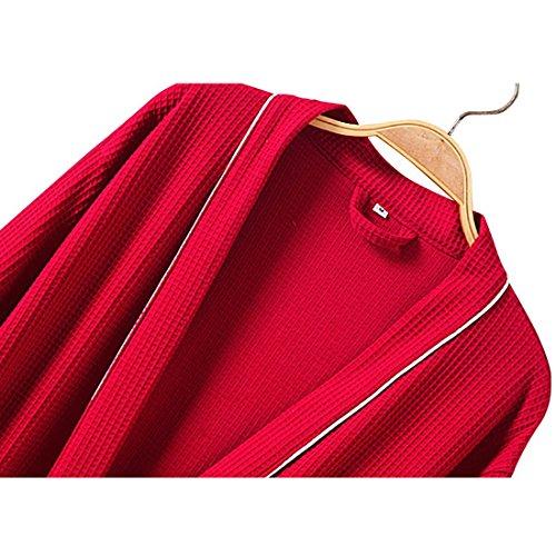 ALICECOCO Peignoir Femme Confortable Kimono de Bain Gaufre Coton Taille S-XL Rouge