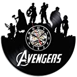 GuoEY Tema de superhéroes vengadores LED Reloj de pared de vinilo Dantique Moda creativa 3 Reloj Estilo Arte Reloj de pared RGB