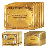 LeSB 5pcs 24k Gold Bio-collagen Face Facial Mask + 5pairs Gold Powder Eye Mask + 5pcs Gold Lip Mask (5sets/package)