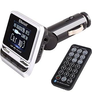 E02 KFZ FM Transmitter MP3 Player Handy Freisprechanlage Transmitter Radio USB SD-Bluetooth, Geeignet für alle KFZ-Typen, LCD-Display zeigt Lautstärke, Frequenz und Nummern des abgespielten Liedes, unterstützte Speichermedien: TF (bis 8GB), USB-Sticks, Unterstützte Datei-Formate: WAV, MP3, WMA, A2DP unterstützung für einen guten Klag, Transmitdistanz: 10m, Abmessung (HxBxT): 53mm x 55mm x 22mm, Farbe Schwarz-Silber