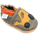 Poissons Dotty - Chaussures En Cuir Souple Pour Bébés - Enfants - Pelle Gris Et Jaune - 3-4 Ans MrCrT